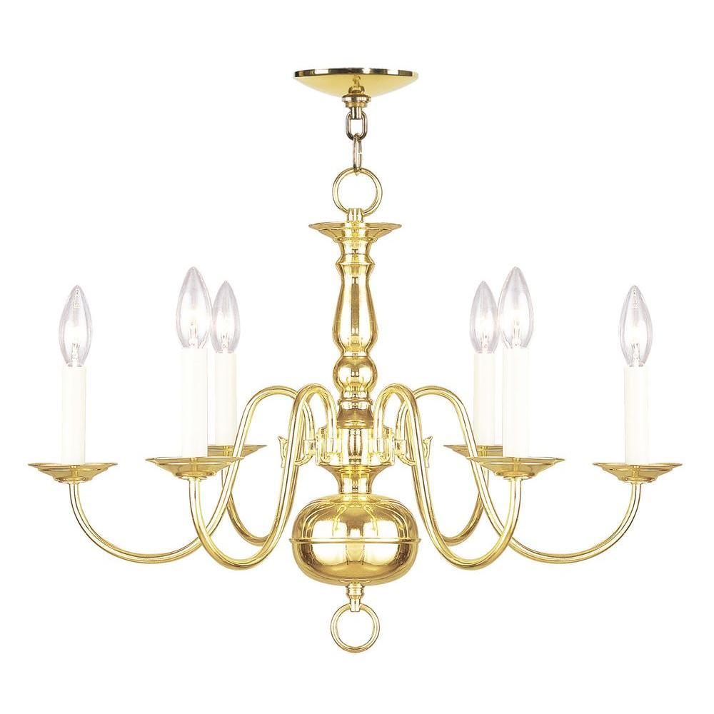 6-Light Polished Brass Chandelier