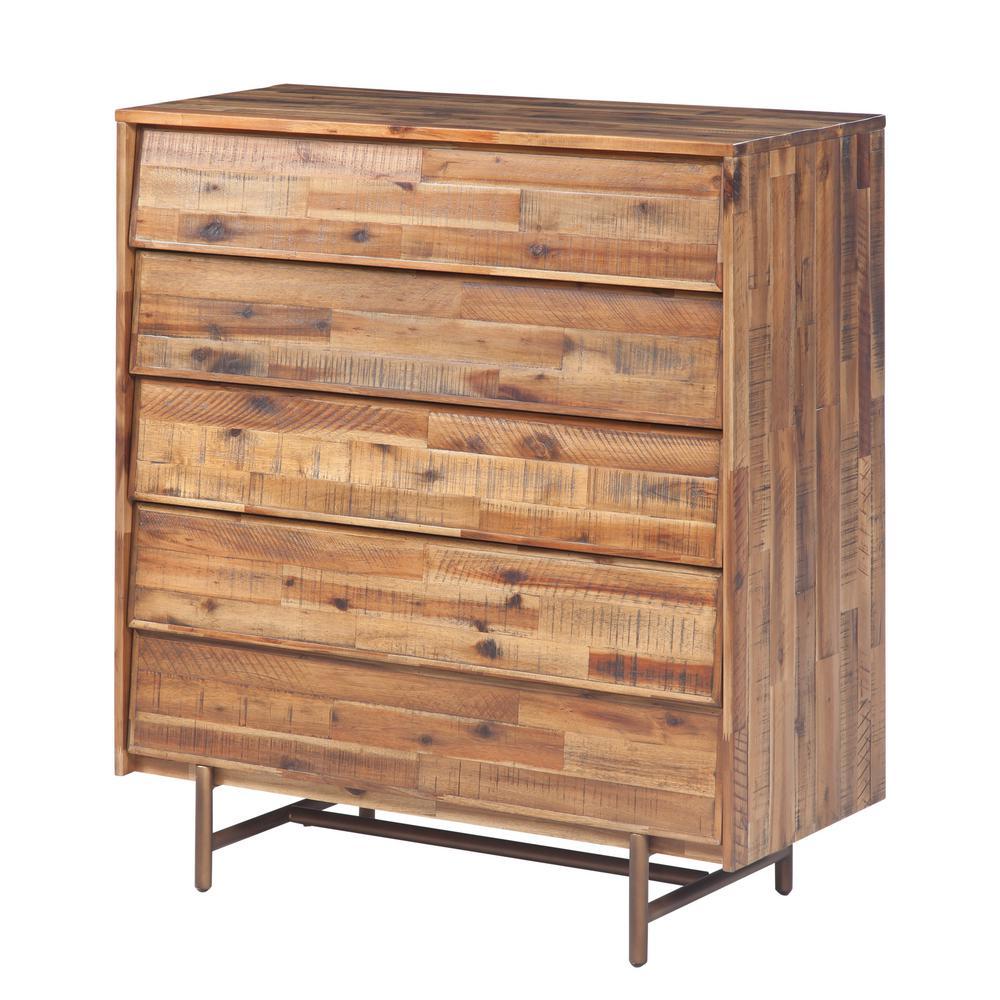 Bushwick 5-Drawer Brown Wooden Chest