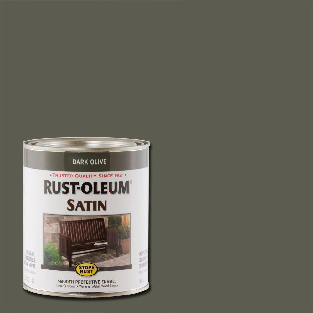 1 qt. Dark Olive Satin Protective Enamel Paint (Case of 2)