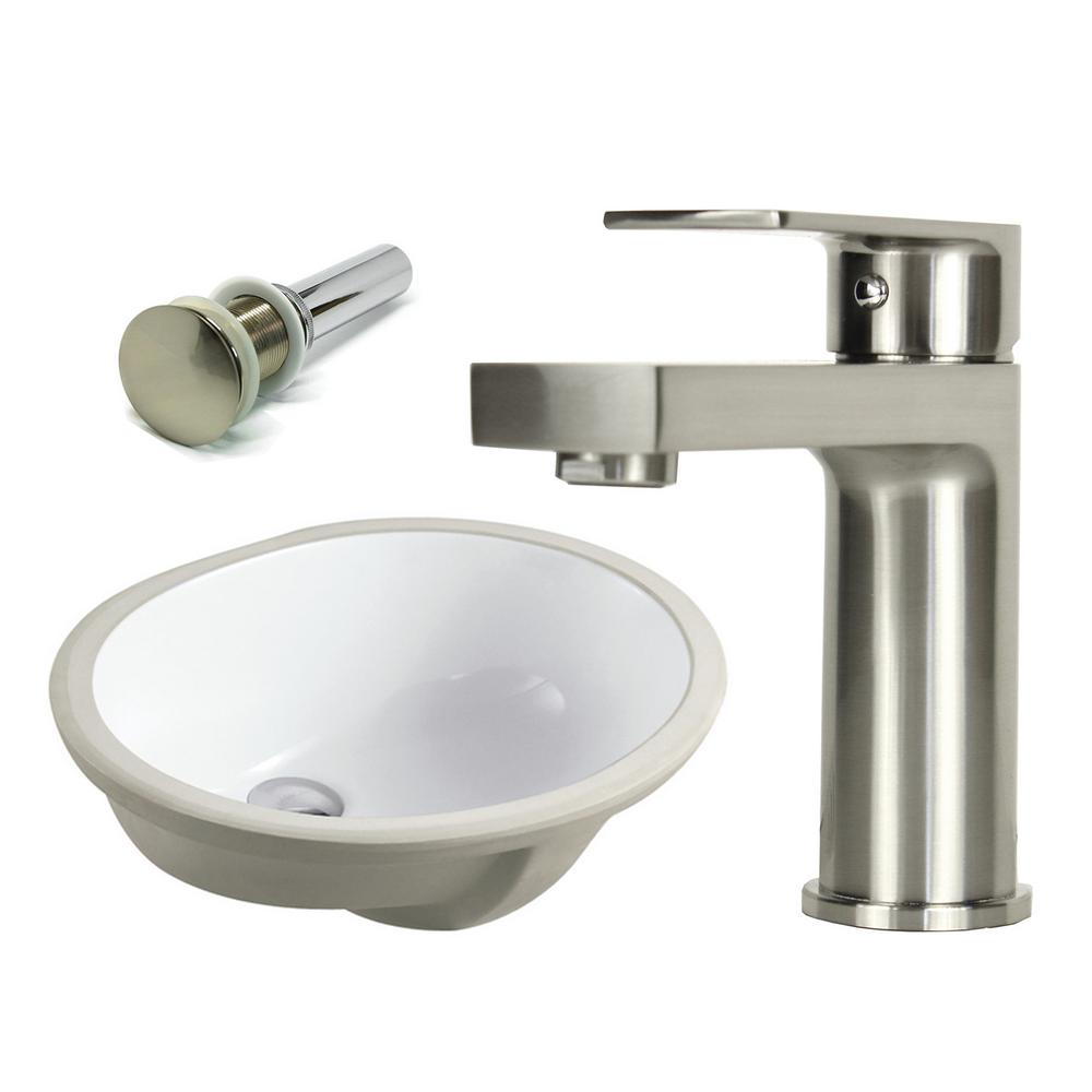 Kingsman Hardware 19-1/2 in. Oval Undermount Vitreous Glazed Ceramic Sink with Brushed Nickel Bathroom Faucet / Pop-up Drain Combo