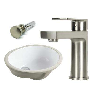 19-1/2 in. Oval Undermount Vitreous Glazed Ceramic Sink with Brushed Nickel Bathroom Faucet / Pop-up Drain Combo