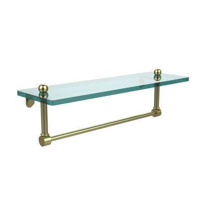 16 in. L  x 5 in. H  x 5 in. W Clear Glass Vanity Bathroom Shelf with Integrated Towel Bar in Satin Brass