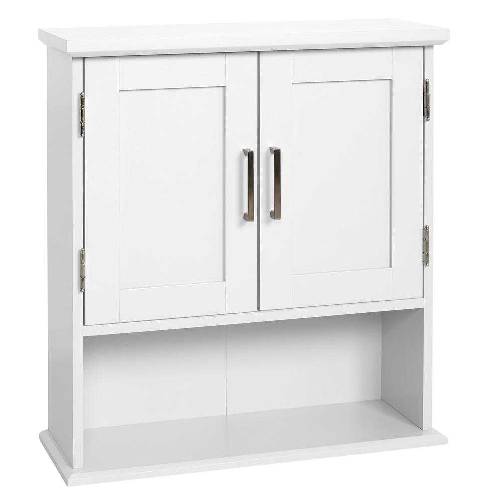 Glacier Bay Shaker Style 23 In W Wall Cabinet With Open Shelf In White 5318wwhd The Home Depot
