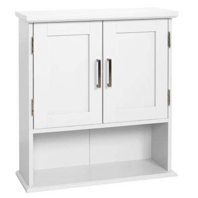 Shaker Style 23 in. W Wall Cabinet with Open Shelf in White