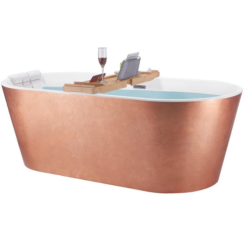 67 in. Foil Acrylic Tub for Bathroom - Flat Bottom Stand Alone Bathtub in Glossy Copper