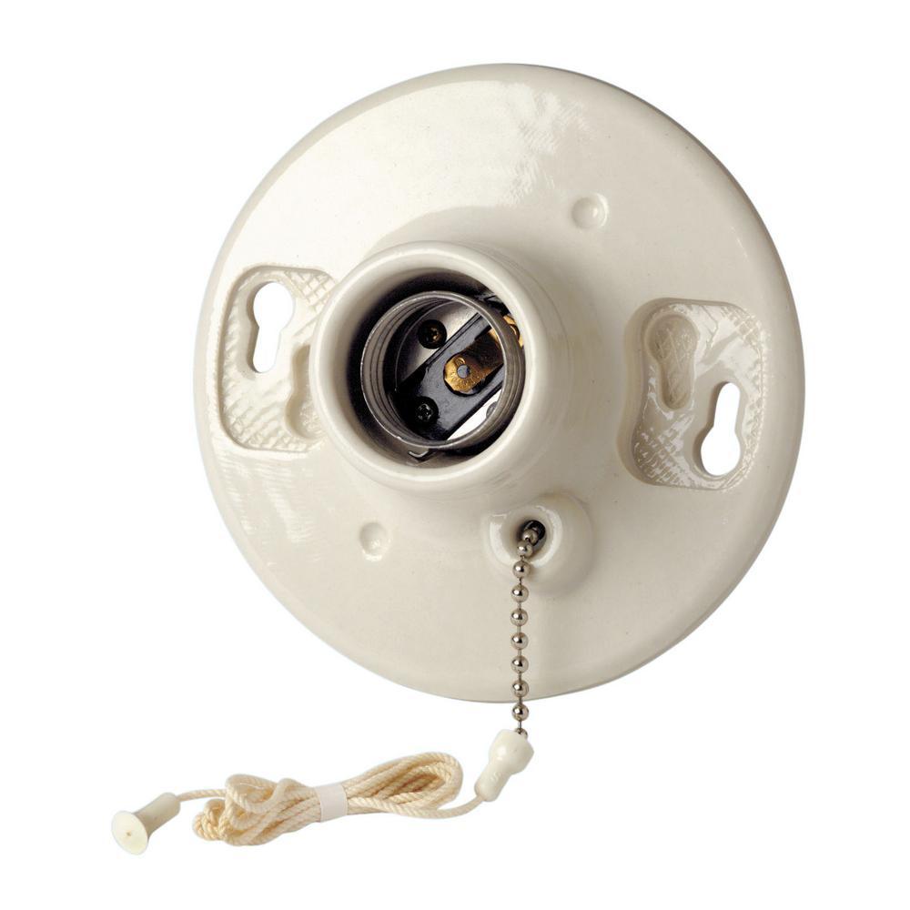 Leviton 600-Watt 250-Volt Outlet Box Lampholder, White-R50-49875-000 ...