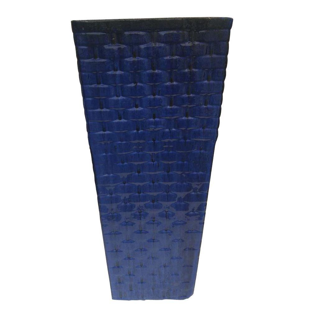 Weave 11.8 in. W Blue Ceramic Medium Square Planter