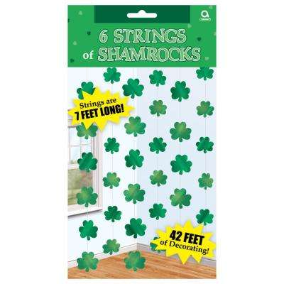 7 ft. St. Patrick's Day Green Foil Shamrock String Decoration (6-Count, 3-Pack)