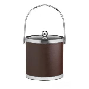 Click here to buy Kraftware Sophisticates 3 Qt. Brown and Polished Chrome Ice Bucket with Track Handle and Metal Cover by Kraftware.