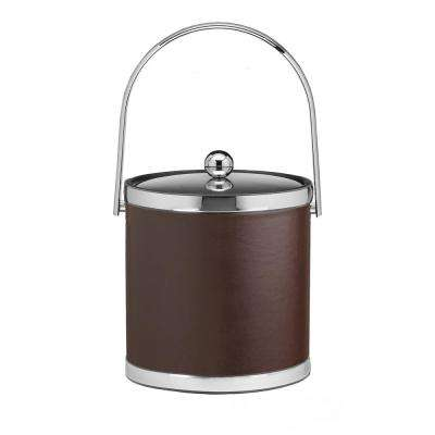 Sophisticates 3 Qt. Brown and Polished Chrome Ice Bucket with Track Handle and Metal Cover