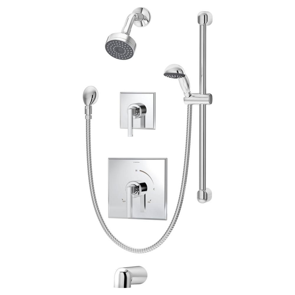 Symmons Duro 2 Handle 1 Spray Tub And Shower Faucet In Chrome Valve