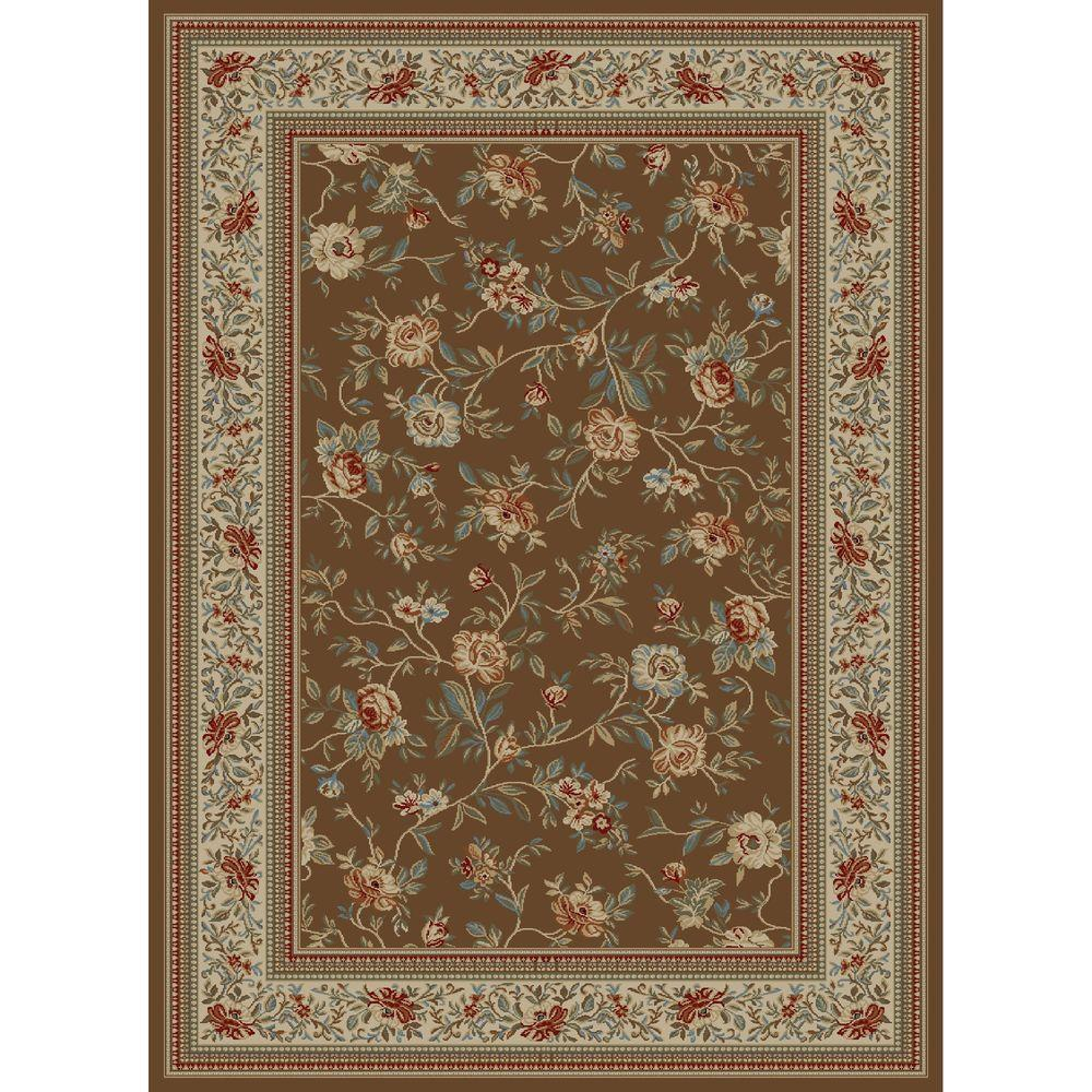 Ankara Floral Garden Brown 6 ft. 7 in. x 9 ft.