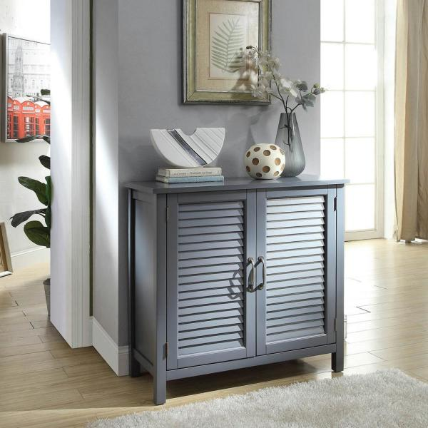 USL Olivia Gray Accent Cabinet with 2-Shutter Doors