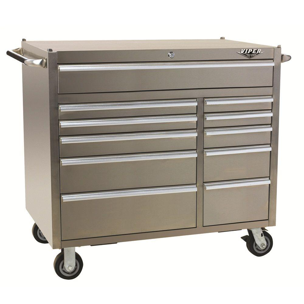Viper PRO 41 in. 11-Drawer Cabinet in Stainless Steel