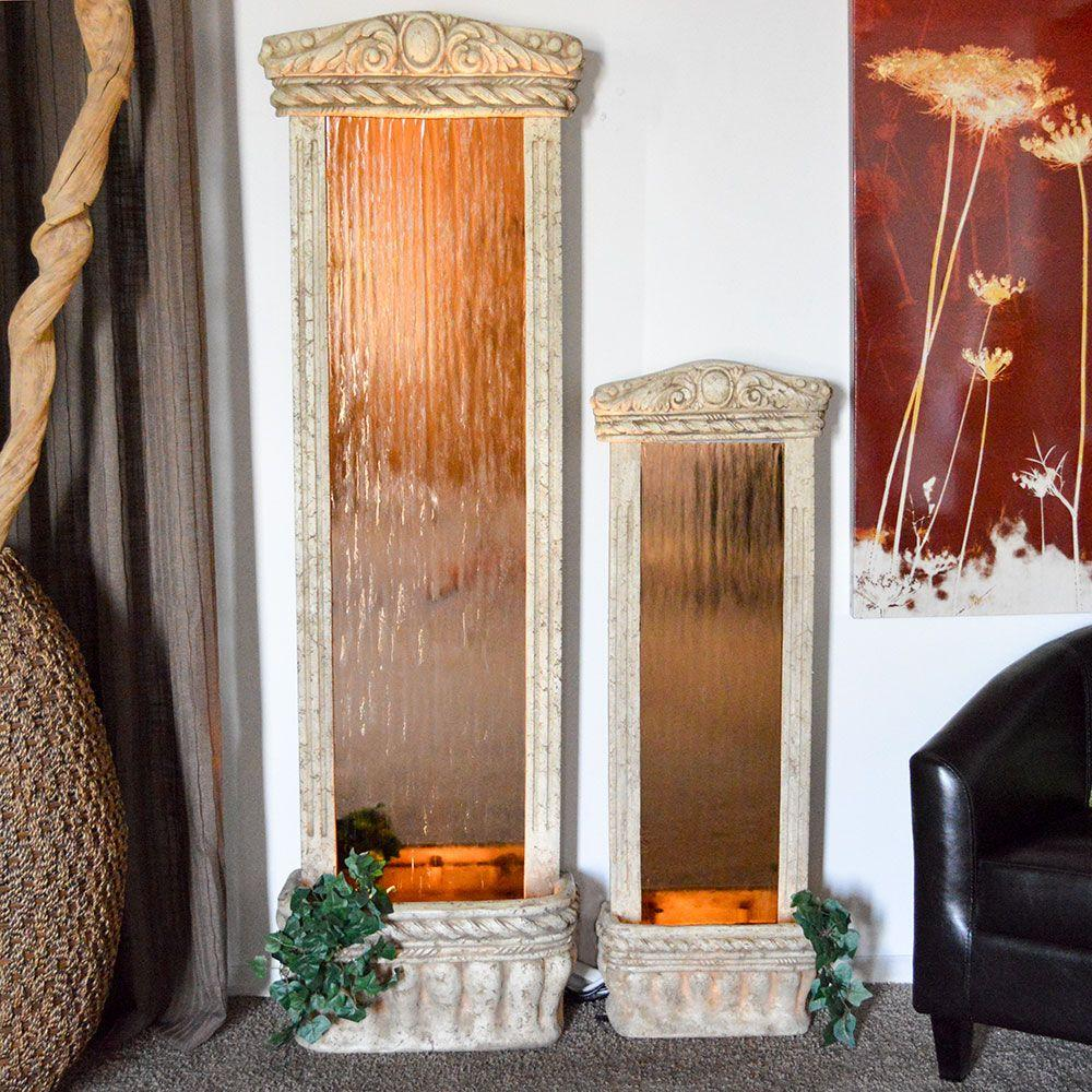 4 ft. Waterfall with Ancient Stone Frame and Bronze Mirror Garden