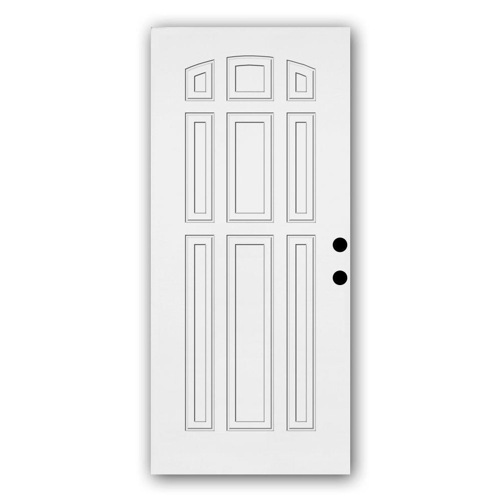 Steves & Sons Premium 9-Panel Primed White Steel Front Door Slab-DISCONTINUED