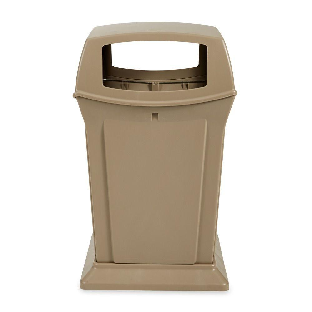 Rubbermaid Commercial Products Ranger 45 gal. Beige Open Side Trash Can