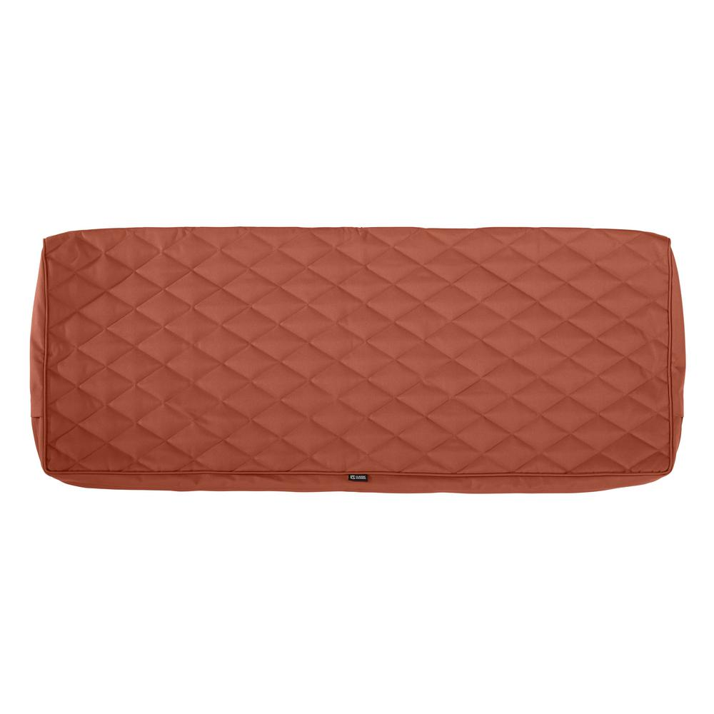 Classic Accessories Montlake Fadesafe 48 In W X 18 In D X 3 In T Spice Quilted Settee Bench Cushion Slipcover