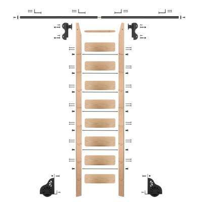 9 ft. Red Oak Library Ladder (10 ft. Reach) Black Rolling Hook Ladder Kit with 8 ft. Rail and Horizontal Brackets