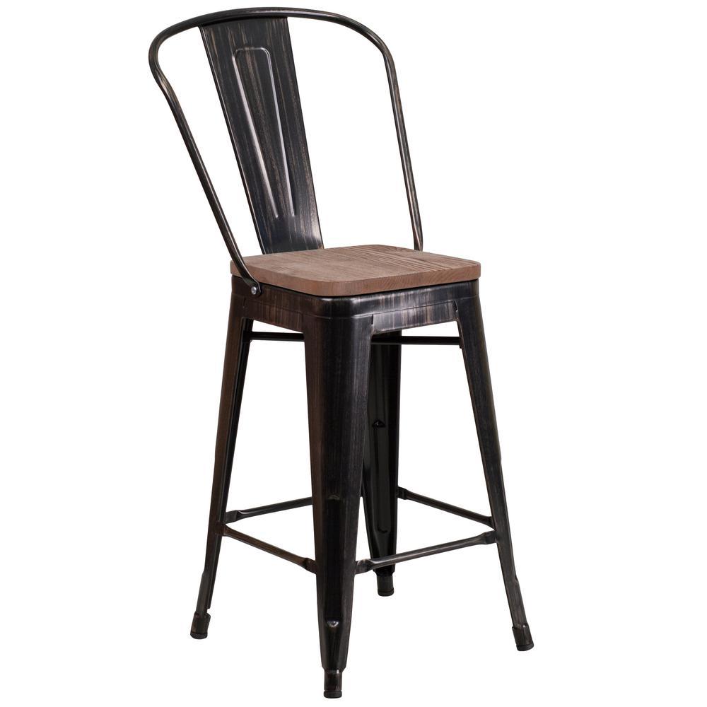 Flash Furniture 24.25 in. Black-Antique Gold Bar Stool CGA-CH-249905-BL-HD