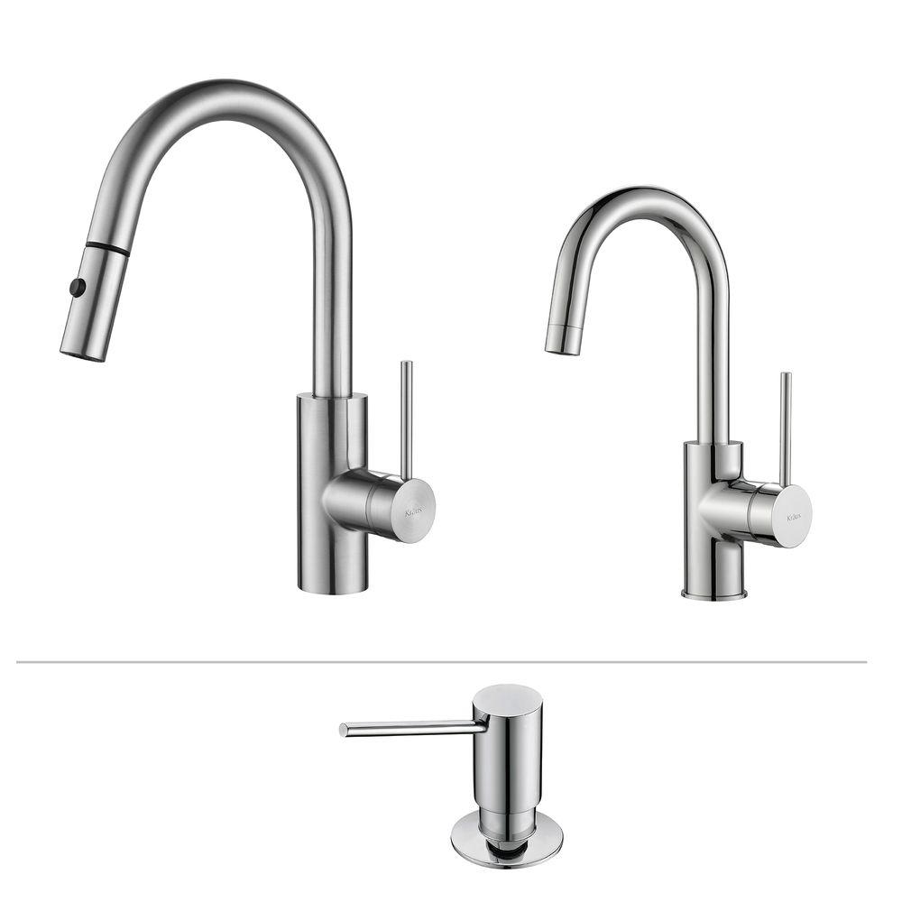 Delicieux KRAUS Oletto Single Handle Pull Down Kitchen Faucet And Bar Faucet With  Soap Dispenser