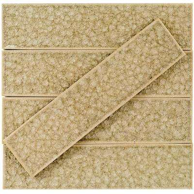 Roman Selection Iced Tan 2 in. x 8 in. x 9 mm Polished Glass Mosaic Wall Tile (36 pieces 4 sq.ft./Box)