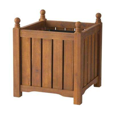 Lexington 14 in. Square Teak Oil Wood Planter