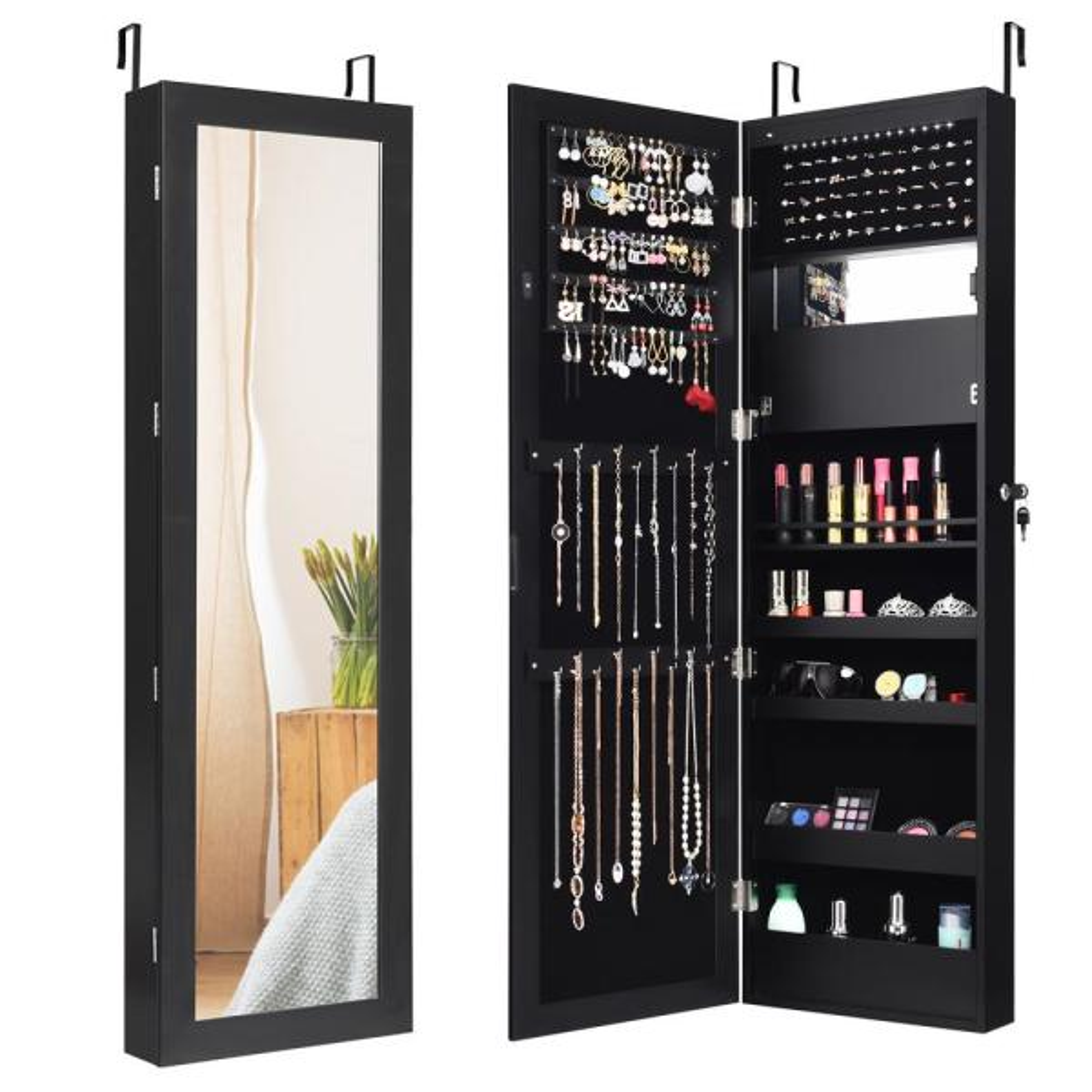 Costway Lockable Mirror Jewelry Cabinet, Jewelry Mirrored Armoire