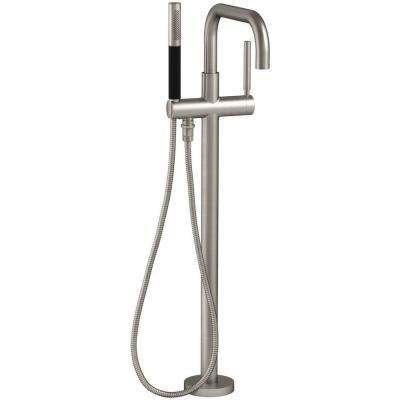 Purist 1-Handle Floor Mount Tub Filler with Hand Shower in Brushed Nickel