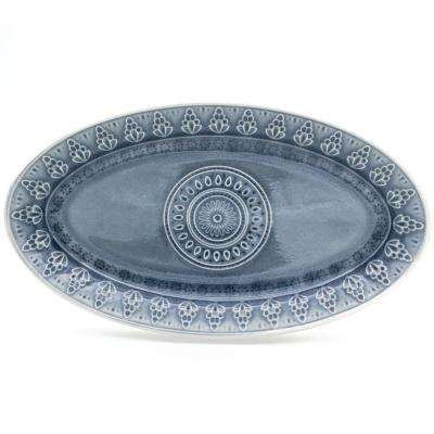 Fez Grey Crackle-Glaze Oval Platter