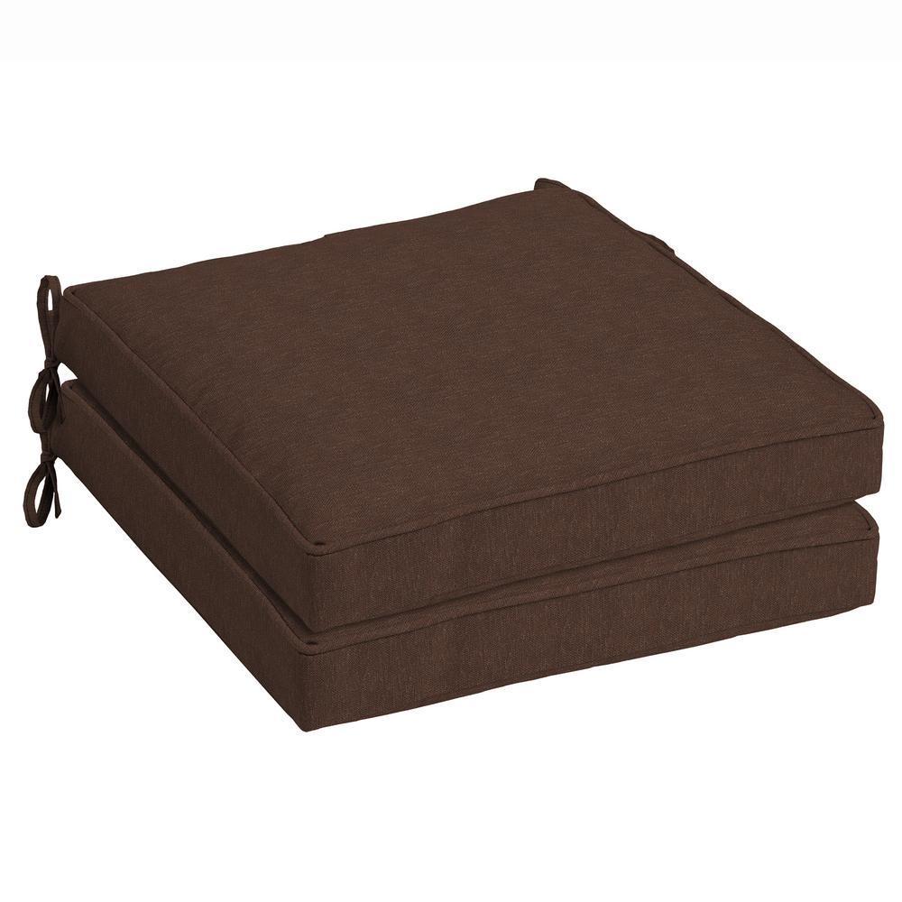 Wonderful Chocolate Lamar Texture Outdoor Seat Cushion (Pack Of 2)