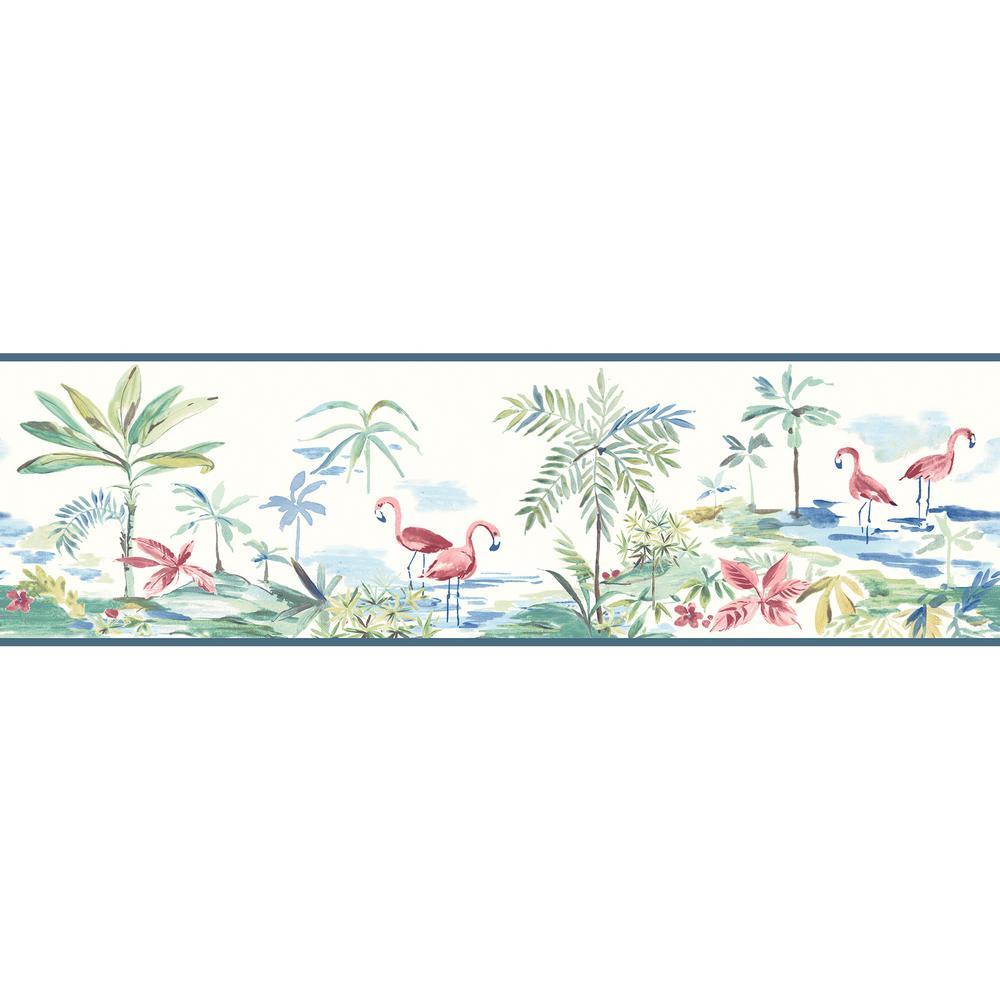 Lagoon Teal Watercolor Wallpaper Border Sample