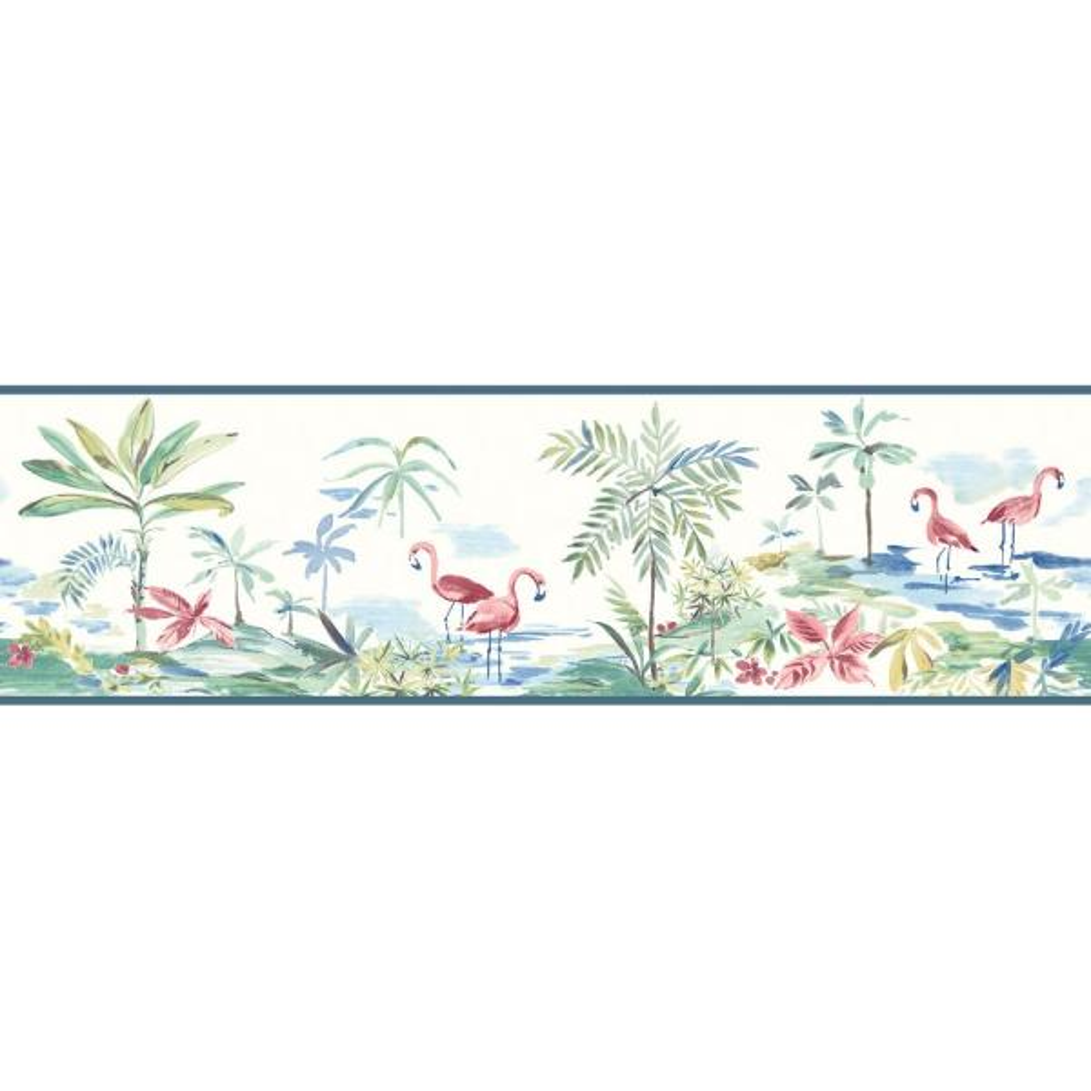 Lagoon Teal Watercolor Teal Wallpaper Border Sample