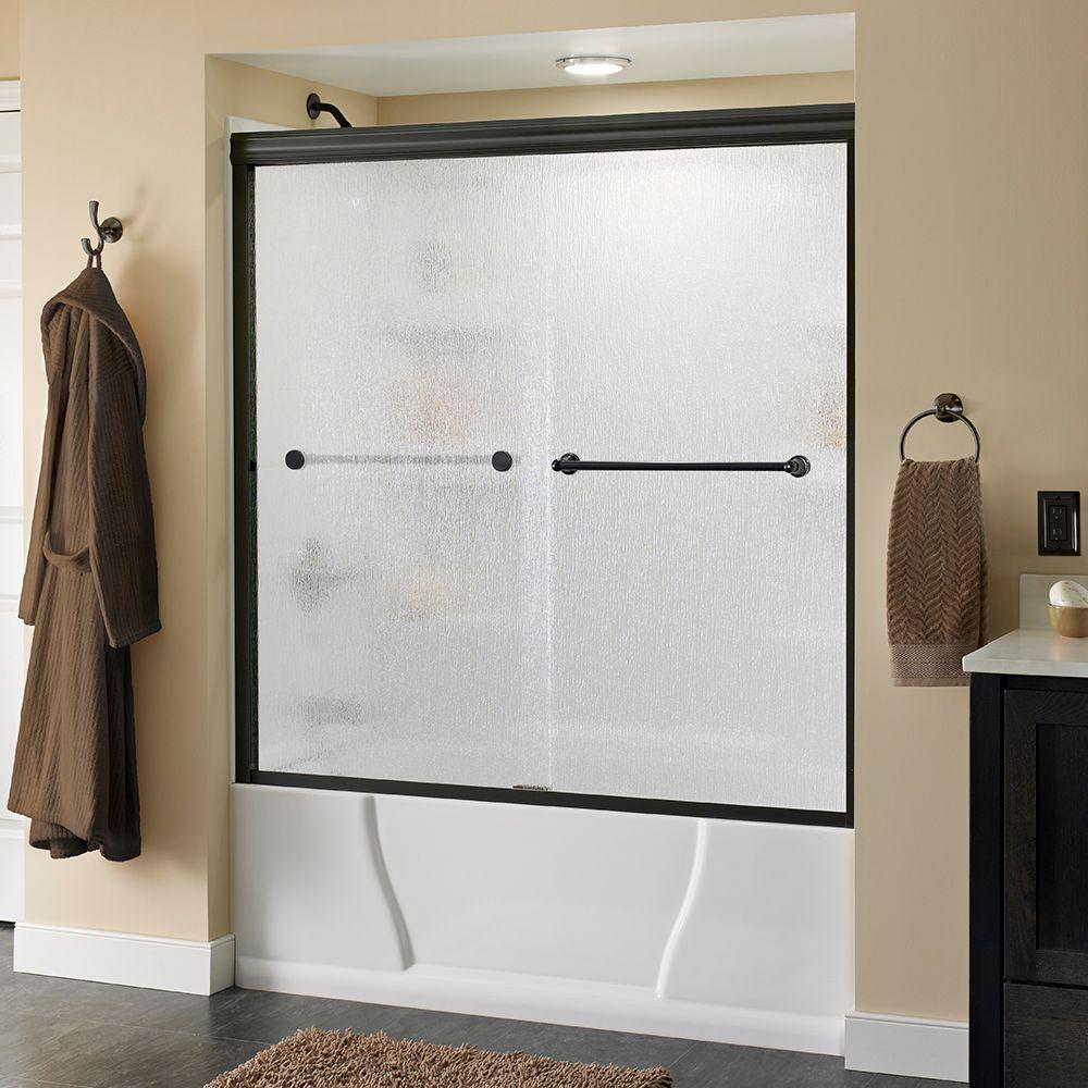 Crestfield 60 in. x 58-1/8 in. Semi-Frameless Sliding Bathtub Door in Bronze with Rain Glass