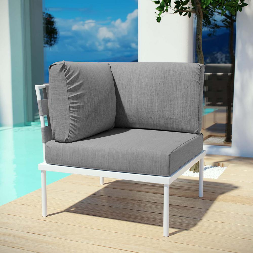 Harmony Patio Aluminum Corner Outdoor Sectional Chair in White with Gray
