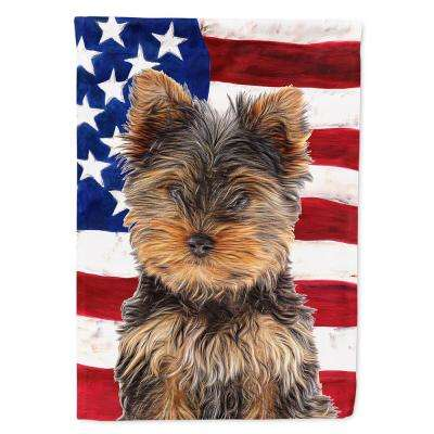0.91 ft. x 1.29 ft. Polyester USA American Flag with Yorkie Puppy/Yorkshire Terrier 2-Sided 2-Ply Garden Flag