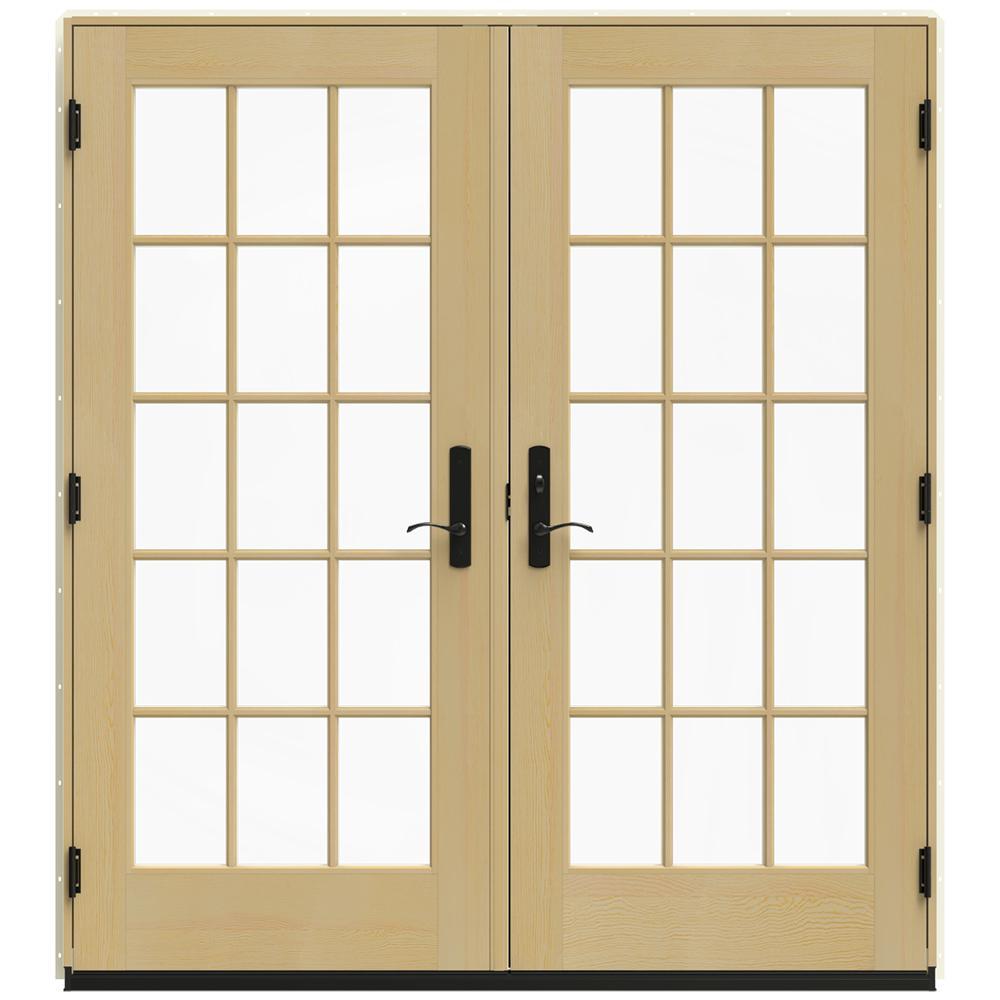 72 in. x 80 in. W-4500 Vanilla Clad Wood Left-Hand 15 Lite French Patio Door w/Unfinished Interior