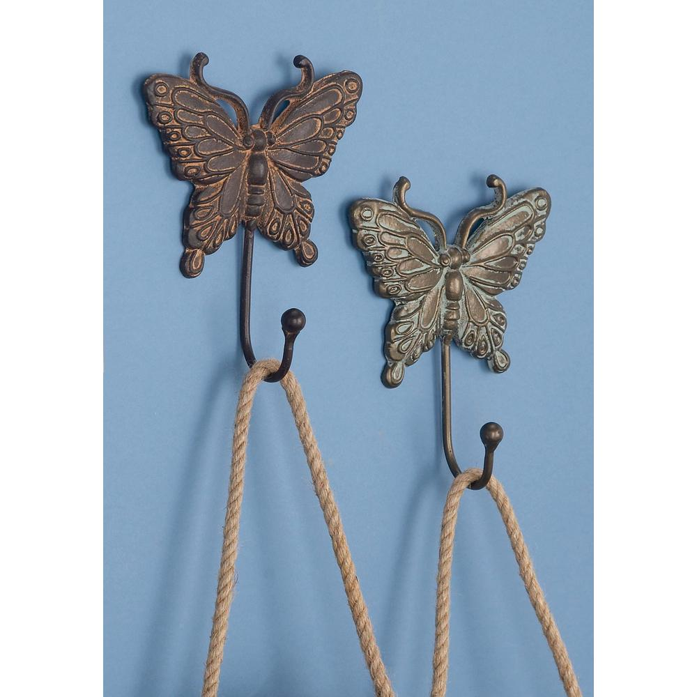 6 in. Patina White and Brown Iron Metal Butterfly Wall Hooks