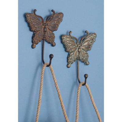 6 in. Patina White and Brown Iron Metal Butterfly Wall Hooks (Set of 4)