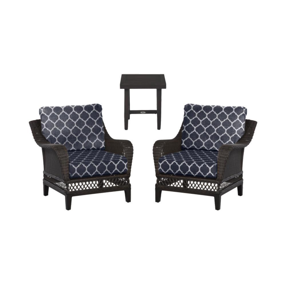 Woodbury 3-Piece Dark Brown Wicker Outdoor Patio Seating Set with CushionGuard Midnight Trellis Navy Blue Cushions