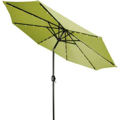 9 Ft. Deluxe Solar Powered LED Lighted Patio Umbrella In Light Green