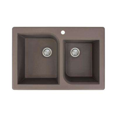 Radius Drop-in Granite 33 in. 1-Hole 1-3/4 Offset Double Bowl Kitchen Sink in Espresso