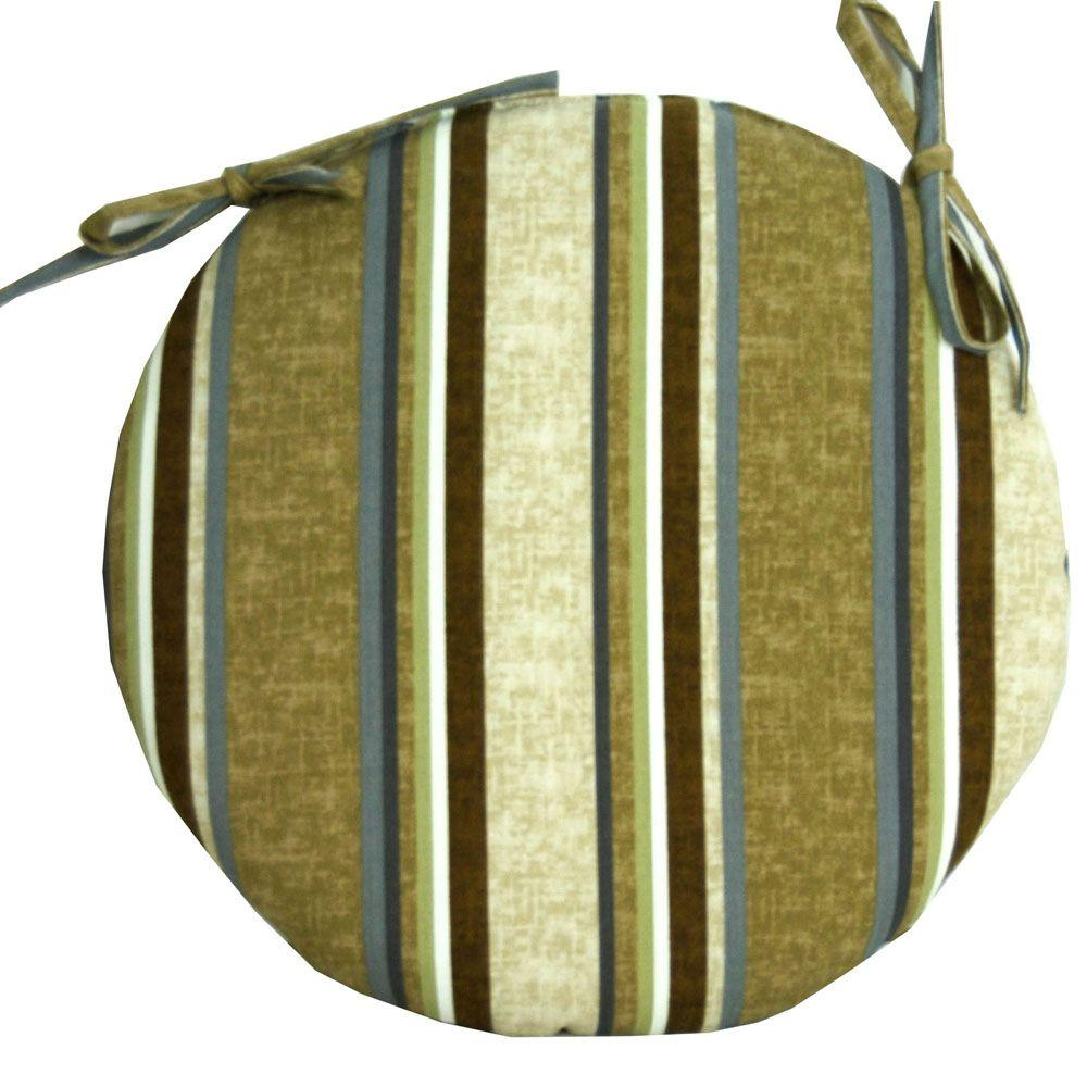 null Cabot Stripe Tobacco Outdoor Bistro Seat Cushion-DISCONTINUED