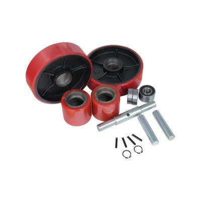 Replacement Pallet Jack Wheel Set 7 in. x 2 in. Steer Wheel 3-9/16 in. x 2-15/16 in. Load Wheel 20 mm ID