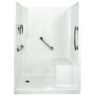 Freedom 33 in. x 60 in. x 77 in. Low Threshold Shower Kit in White with Right Side Seat Position