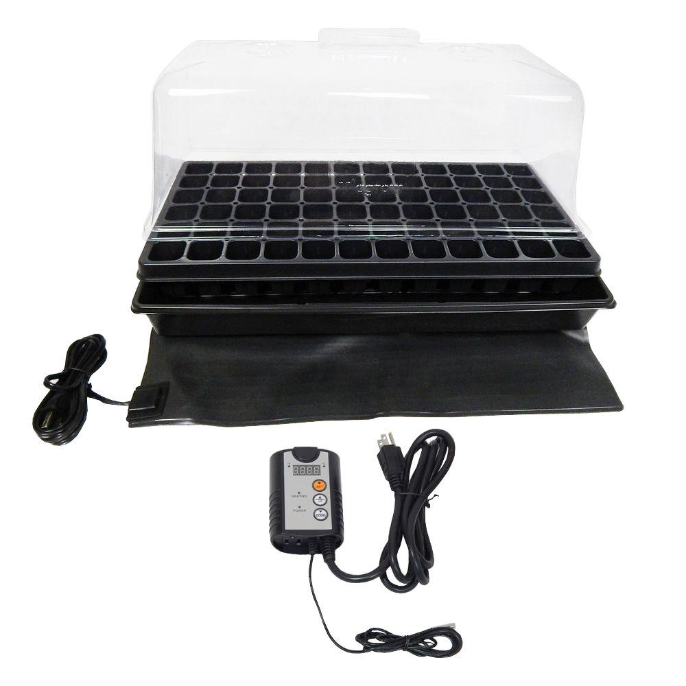 Viagrow Single Propagation Kit with Heat Mat, Flat Tray, Flat Insert, Tall Dome, Tray Heat Mat with Thermostat