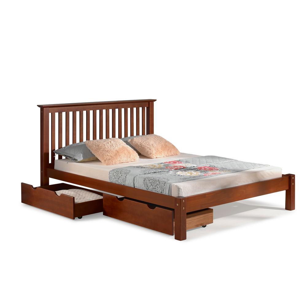 Alaterre Chestnut Brown Queen Bed Storage Drawers Barcelona