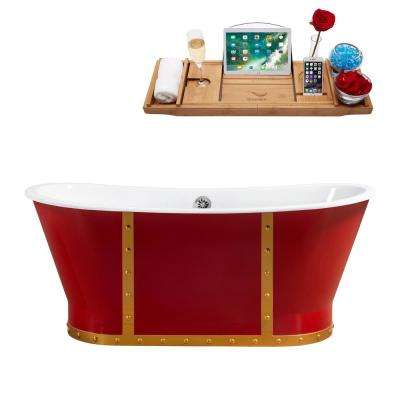 66.9 in. Cast Iron Flatbottom Non-Whirlpool Bathtub in Red