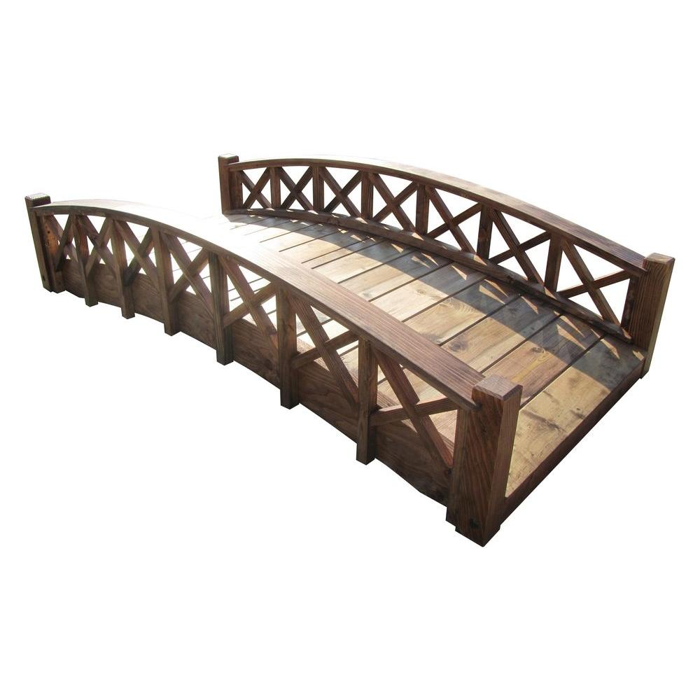 6 ft. Arched Wood Garden Swan Bridge with Cross Halved Lattice