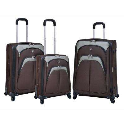 3-Piece Brown Expandable Vertical Luggage Set with Spinner Wheels and EVA-Reinforced Polyester Construction